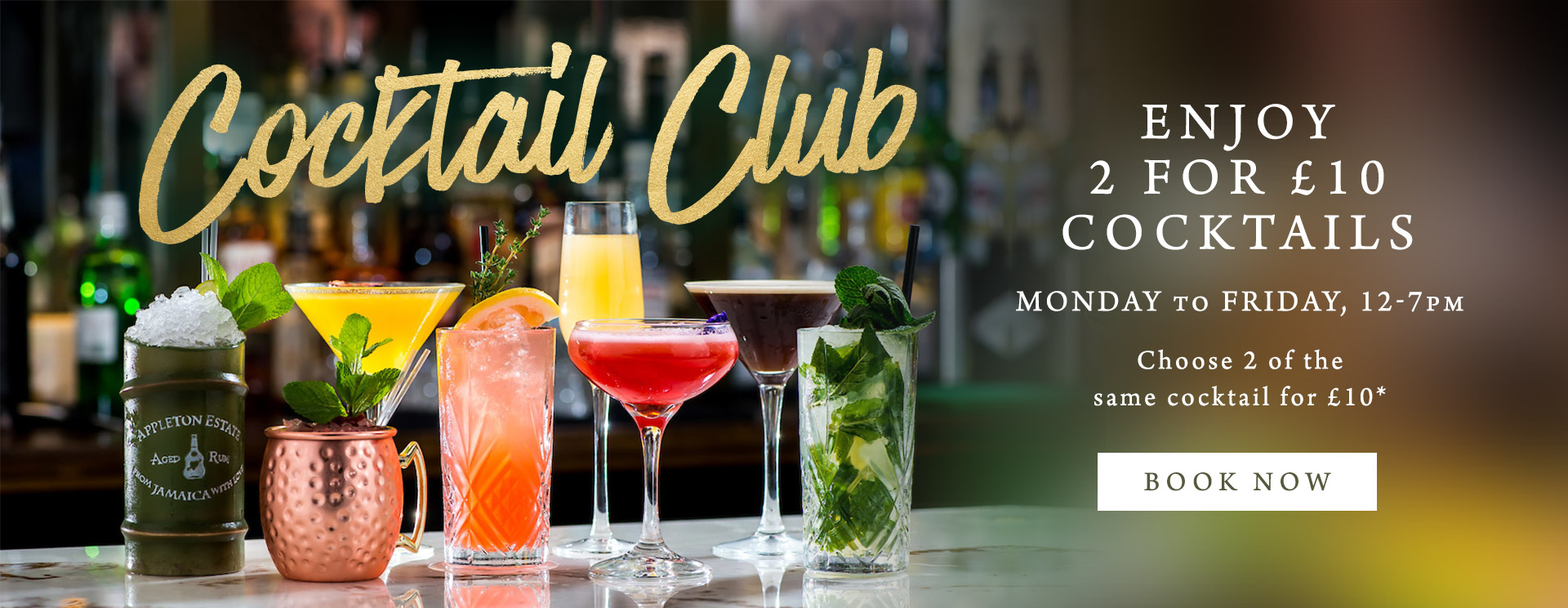 2 for £10 cocktails at The Freemasons Arms