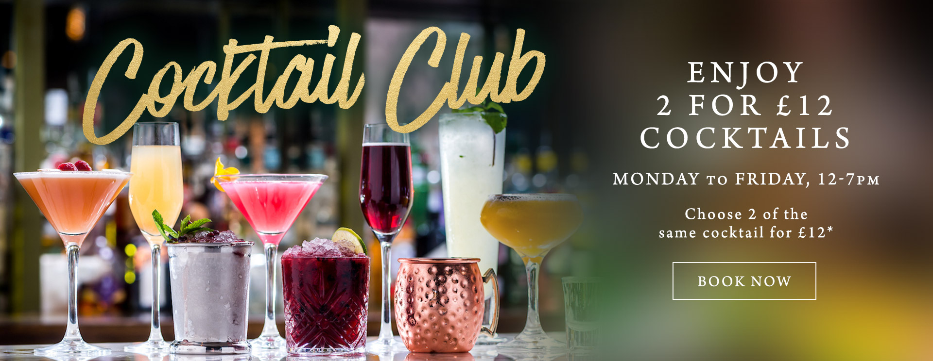 2 for £12 cocktails at The Freemasons Arms